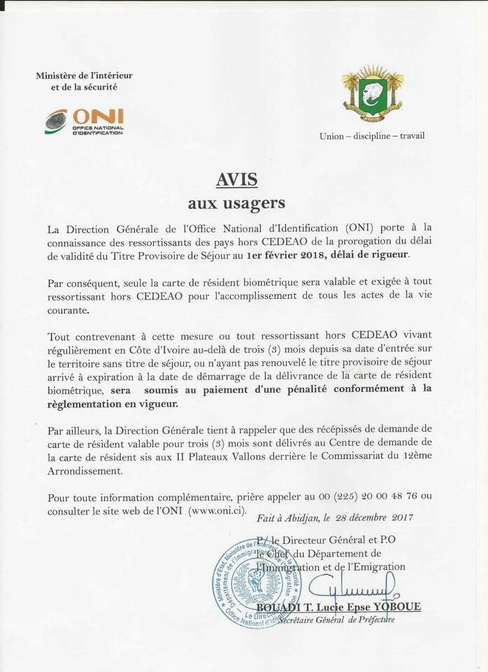 demande carte de résident Carte de résident hors CEDEAO : Communiqué de l'ONI du ()   La